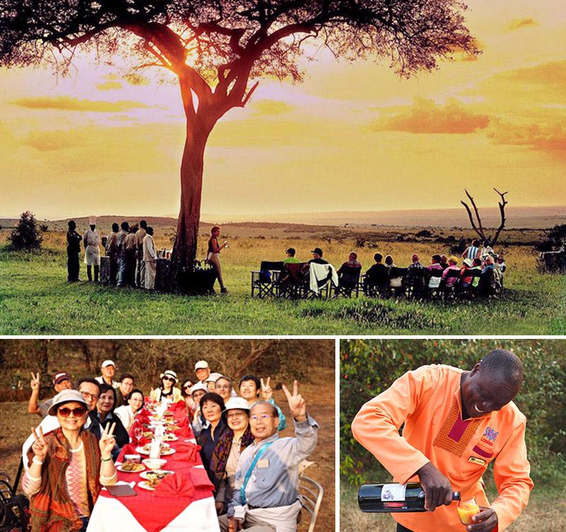 東非喝香檳、品美食、賞落日、觀夕陽